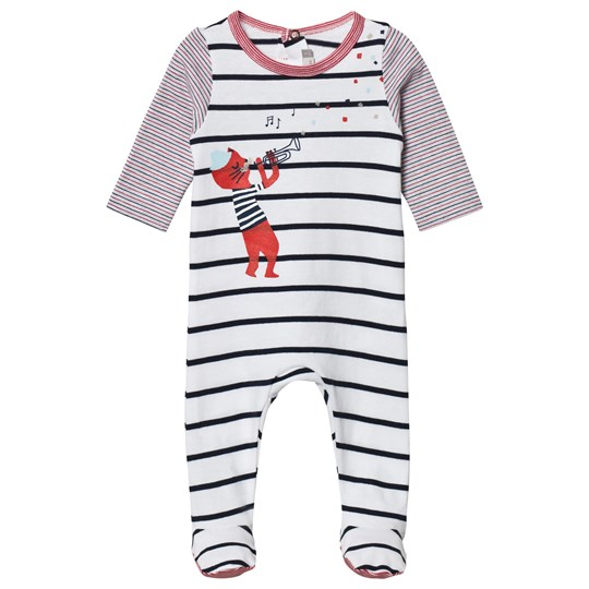 Catimini Stripe Cat Print Footed Baby Body 01