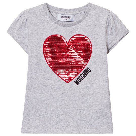 Moschino Kid-Teen Grey Sequin Heart Tee 60901