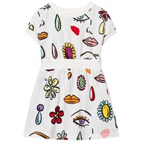 Moschino Kid-Teen Off White Jewel Lips Print Sweat Dress 82032