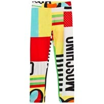 Moschino Kid-Teen Multi Branded and Heart Print Patchwork Leggings 80964
