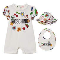 Moschino Kid-Teen White Multi Fruit and Branded Romper, Bib and Sun Hat Giftbox 10063