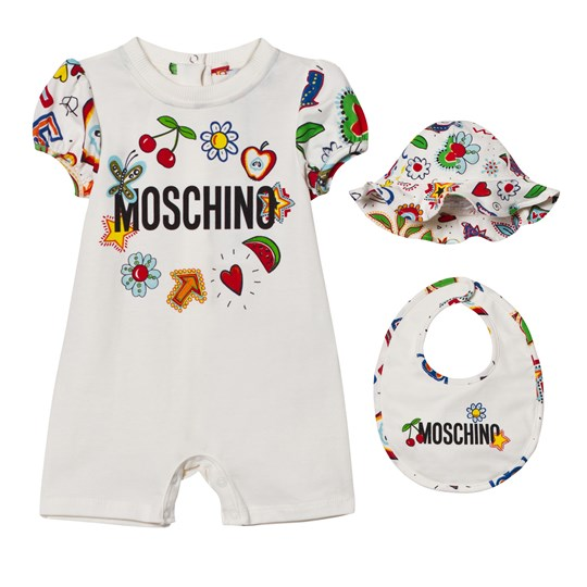 Moschino Kid-Teen White Multi Fruit Branded Romper, Bib and Sun Hat Giftbox 10063