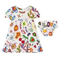 Moschino Kid-Teen White Multi Fruit Branded Jersey Dress and Knickers Set 82035