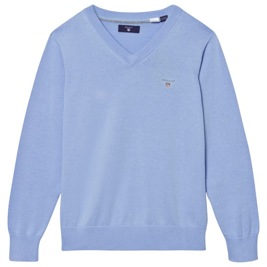 GANT Blue Branded V Neck Cotton Jumper 468