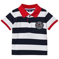 Gant Navy and White Bar Stripe Polo with Contrast Collar 410
