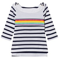 Lands End White Boatneck Sailor Top PLACED RAINBOW STRIPE