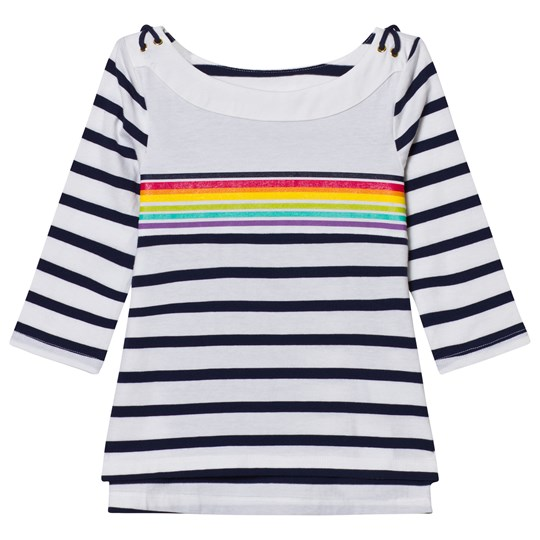 Lands' End White Boatneck Sailor Top PLACED RAINBOW STRIPE