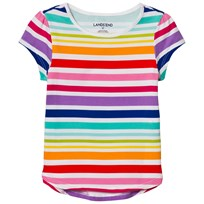 Lands' End Rainbow A-Line Core Knit Tee Rainbow Stripe