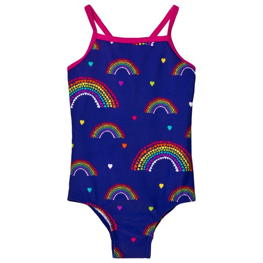 Lands' End Blue Smart Swimsuit ROYAL PLUM RAINBOWS