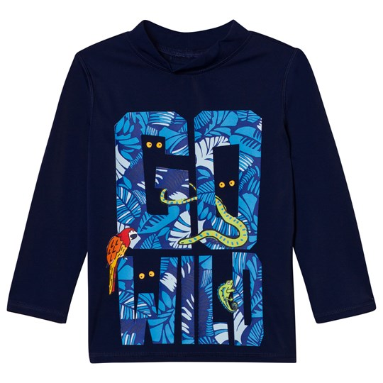 Lands' End Blue Long Sleeve Graphic Rashguard GO WILD