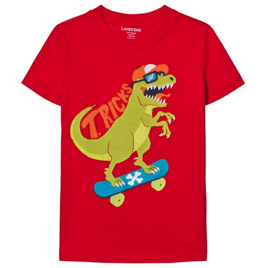 Lands' End Red Applique Graphic Tee T-RICKS