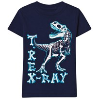 Lands' End Navy Glow In The Dark Graphic Tee TREX RAY
