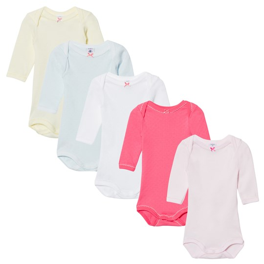 Petit Bateau 5 Pack Multi Color Pointelle Långärmad Body 00