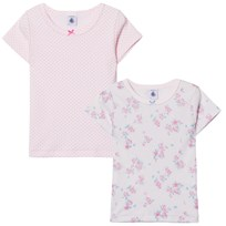 Petit Bateau 2 Pack of Pink Floral and Spot Tees 00