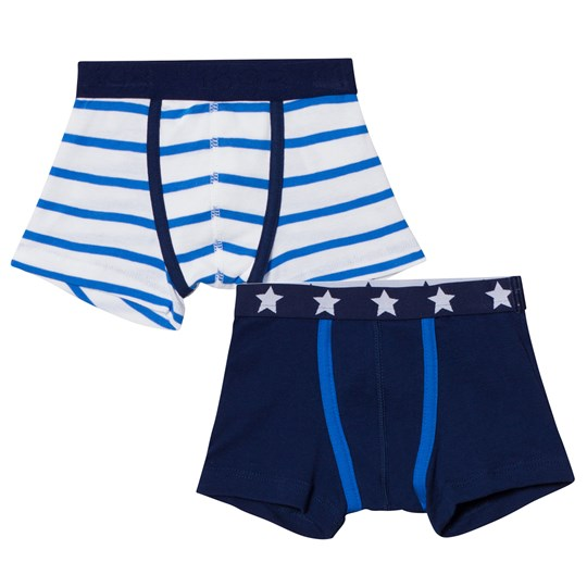 Petit Bateau 2 Pack of Navy and White Stripe and Star Print Trunks 00