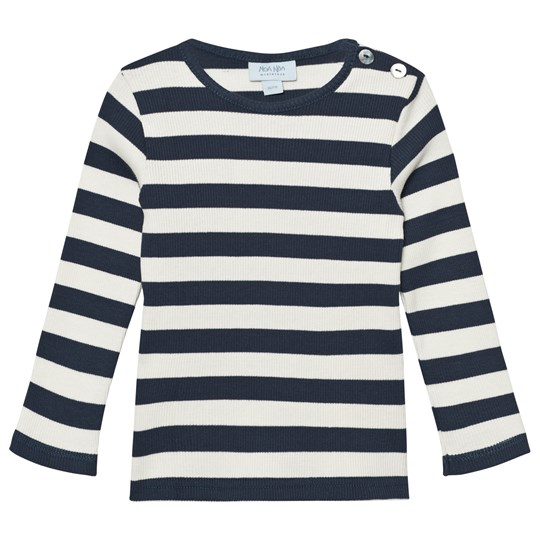 Noa Noa Miniature Basic Tröja 2x2 Rib Striped Blue Dress Blue