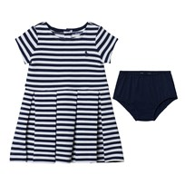 Ralph Lauren Navy and White Stripe Jersey Dress 002