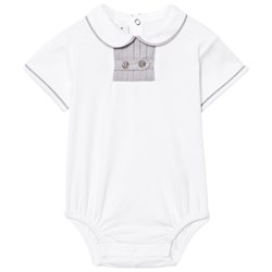 How To Kiss A Frog Romper White/Grey Collar