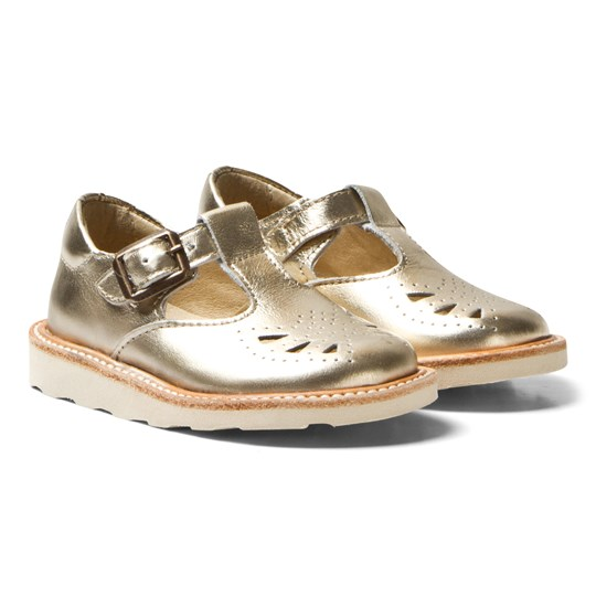 Young Soles Rosie T-Bar Gold Gold Leather