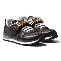 Moschino Kid-Teen Black Branded Sprint Trainers SPRINT/NYLON NERO