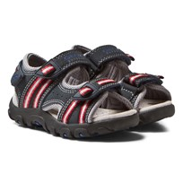 Geox Navy and Red Velcro Strada Sandals C0735