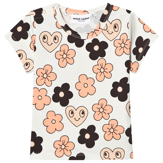 Mini Rodini Flowers Tee Off White Off white