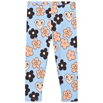 Mini Rodini Flower Leggings Ljusblå Light Blue