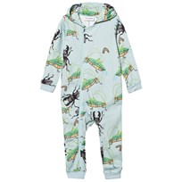 Mini Rodini Insects Onesie Light Blue Light Blue