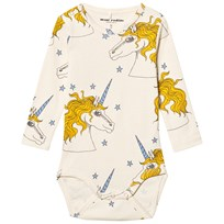 Mini Rodini Unicorn Star Baby Body Off White Off white