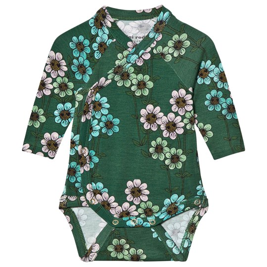 Mini Rodini Daisy Wrap Body Dark Green dark green