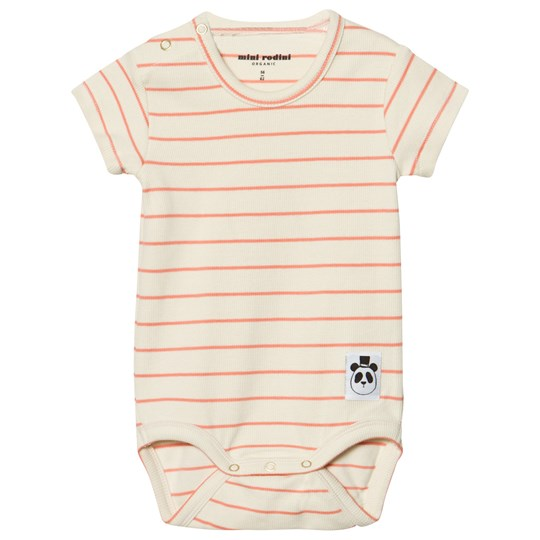 Mini Rodini Stripe Rib Short Sleeve Baby Body Pink Pink