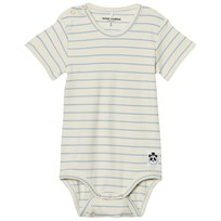 Mini Rodini Stripe Rib Short Sleeve Baby Body Light Blue Light Blue