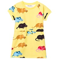 Mini Rodini Mr Mouse Sweat Dress Yellow Yellow