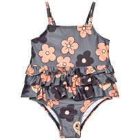 Mini Rodini Flower Frill Swimsuit Grey Musta