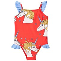 Mini Rodini Unicorn Star Wing Swimsuit Red Red