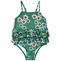 Mini Rodini Daisy Frill Swimsuit Dark Green dark green