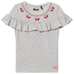 IKKS Grey Frill Detail and Embroidered Tee