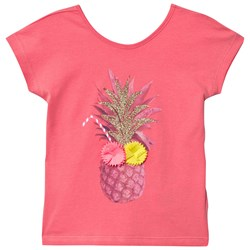 Billieblush Coral Pinapple Applique Tee with Heart Back