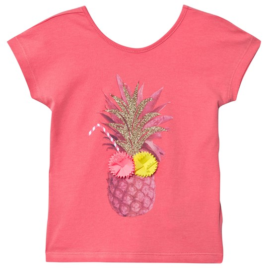 Billieblush Coral Pinapple Applique Tee with Heart Back 43D