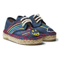 Stella McCartney Kids Rae Denim Espadrilles Embroidered Rainbow 4160