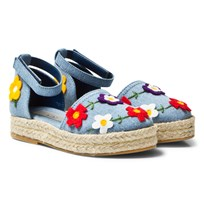 Stella McCartney Kids Floral Print Denim Espadriller Blå 4160