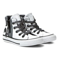 Converse White Floral Chuck Taylor All Star Sport Zip Junior Hi Tops White/Black/White