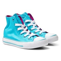Converse Cyan Chuck Taylor All Star Junior Hi Tops Cyan/Magenta Glow/White