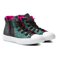 Converse Multi Chuck Taylor All Star Sport Zip Metallic Junior Hi Tops Almost Black/Magenta Glow/White