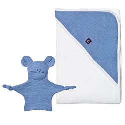 Petit Bateau Baby Bath Towel and Comforter Set White And Blue