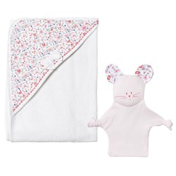 Petit Bateau Baby Bath Towel and Comforter Set White And Pink
