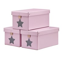Kids Concept Pink Shoe/Toy Boxes 3-Pieces Pink