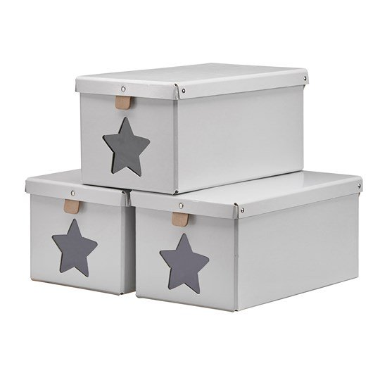 Kids Concept Shoe/Toy Boxes Grey 3-Pieces Black