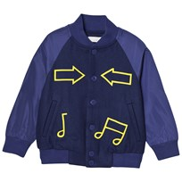 Stella McCartney Kids Blue Bomber Jacket with Musical Notes 4100