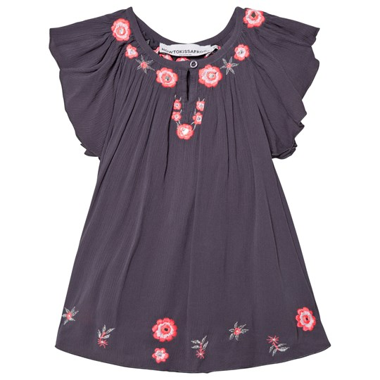 How To Kiss A Frog Forma Dress Grey - Embroidery grey - embroidery